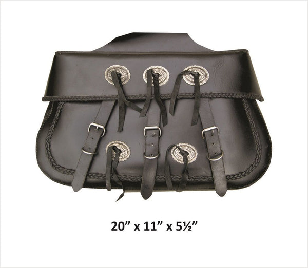 PVC XL Braided Throw-Over Saddlebags with Antique Silver Conchos
