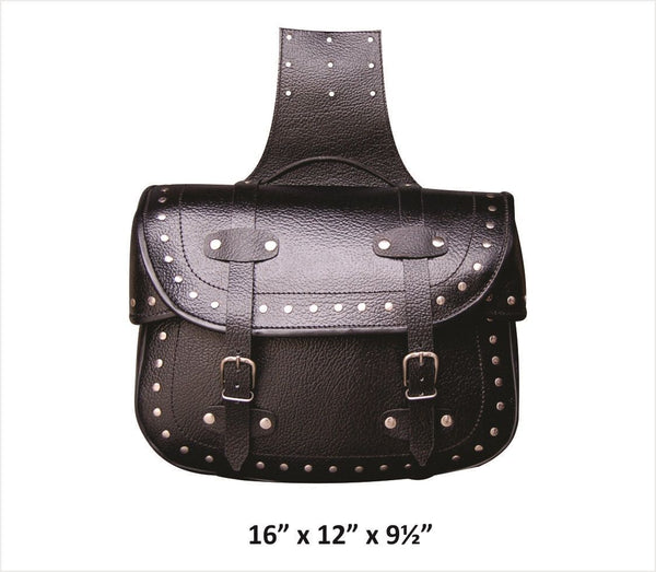XL Studded Throw-Over Saddlebags in Pebble Grain Leather