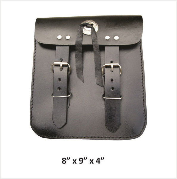 Medium Leather Double Buckle Sissybar Bag with Concho