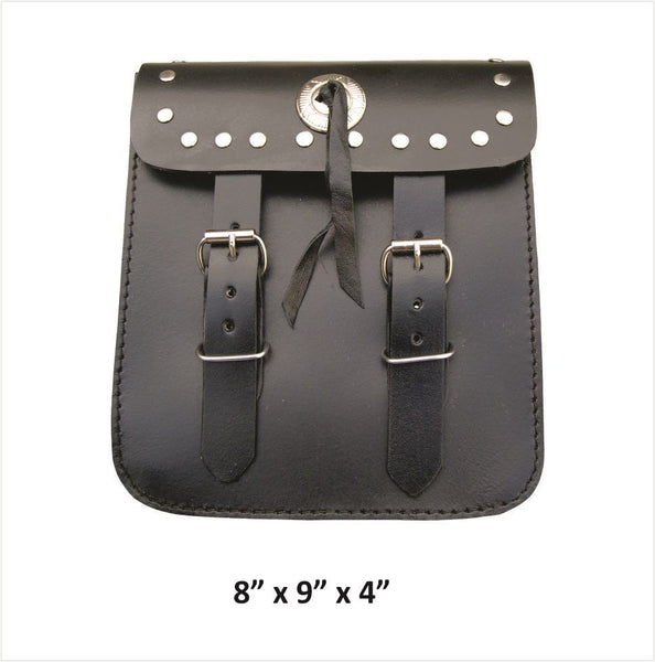 Medium Leather Double Buckle Sissybar Bag with Studs and Concho