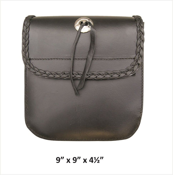 Medium Leather Sissybar Bag with Braid, Concho and Velcro Closure