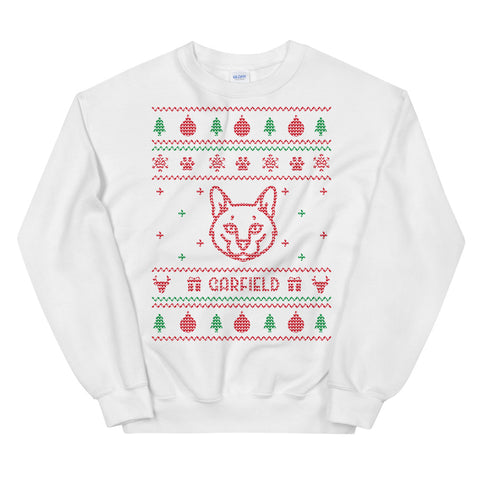 Ugly Christmas Sweater White - Cat