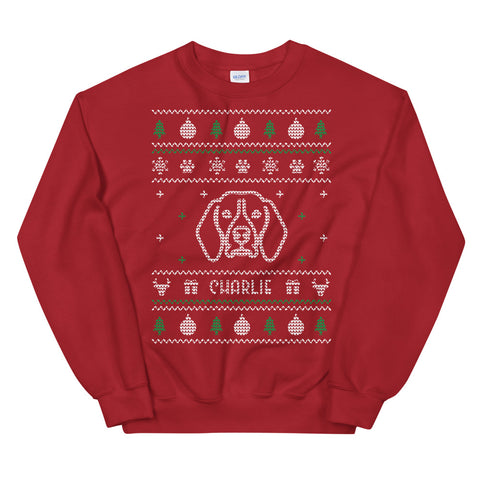 Ugly Christmas Sweater Red - Dog