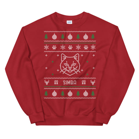 Ugly Christmas Sweater Red - Cat