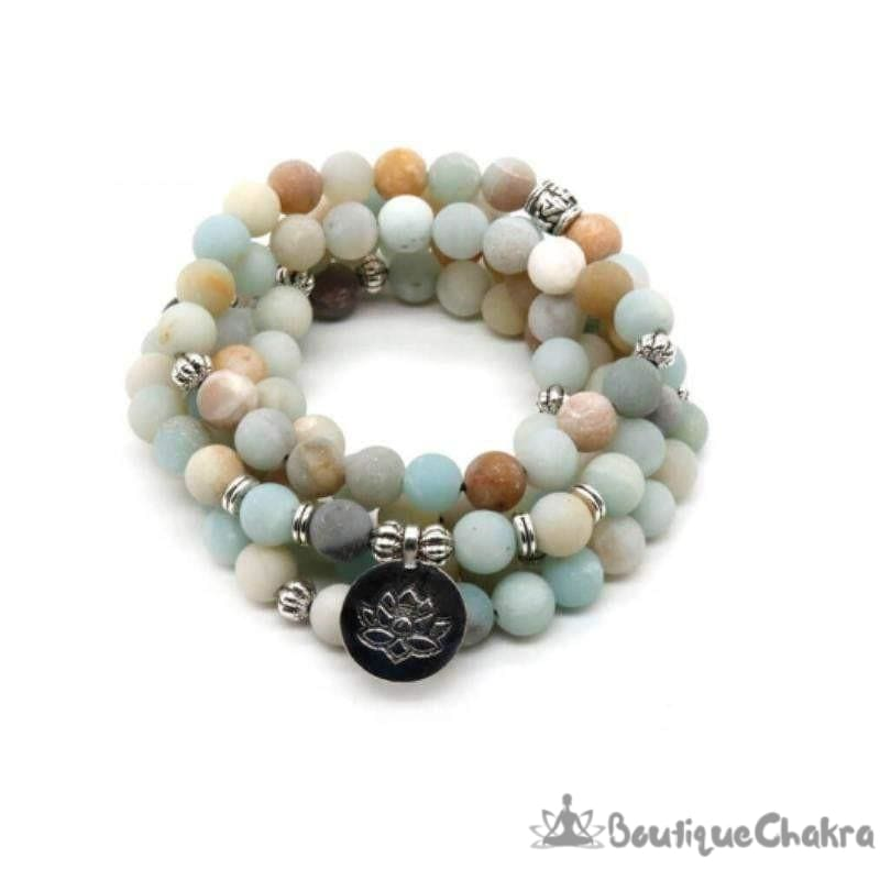Mala en Amazonite Bracelet Mâla chakras amour et communication 108 perles en amazonite BoutiqueChakra