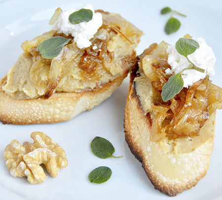Caramelized Onion & Goat Cheese Walnut Butter Crostini