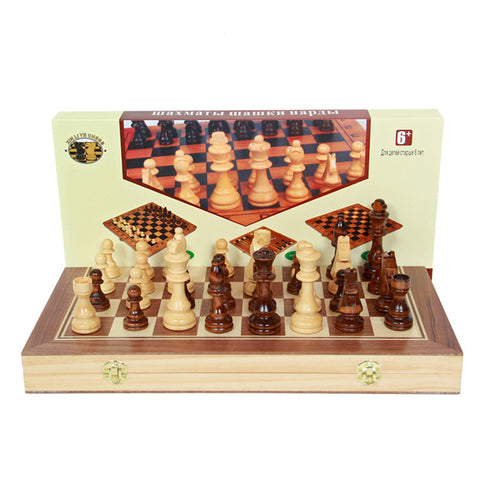 Large Folding Wooden 3-in-1 Game Set