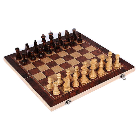 Wooden International 2 in 1 Chess Backgammon