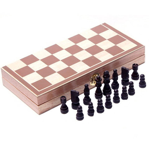 Vintage Wood Piece Folding Chess