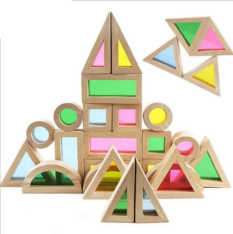 Rainbow transparent acrilic and wood building blocks- Set of 24