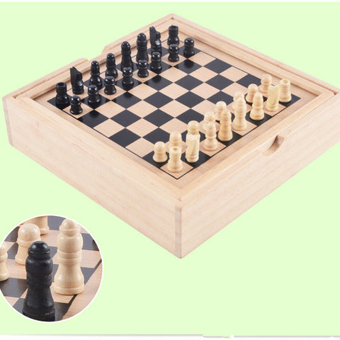 Wooden Tabletop Game Station 3-in-1 Chess Checkers Backgammon