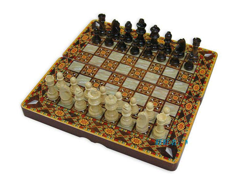 Folding Wooden Backgammon Chess