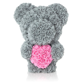 The Forever Handmade Grey Rose Petal Teddy Bear w/ Pink Heart & Gift Box - *Best Holiday Gift*