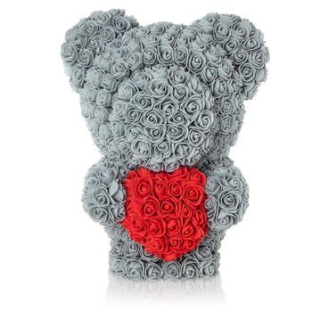 The Forever Handmade Grey Rose Petal Teddy Bear w/ Red Heart & Gift Box - *Best Holiday Gift*