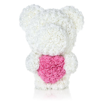 The Forever Handmade White Rose Petal Teddy Bear w/ Pink Heart & Gift Box - *Best Holiday Gift*