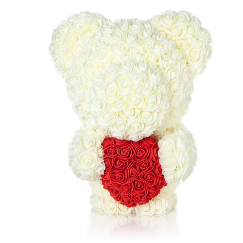 The Forever Handmade White Rose Petal Teddy Bear w/ Red Heart & Gift Box - *Best Holiday Gift*