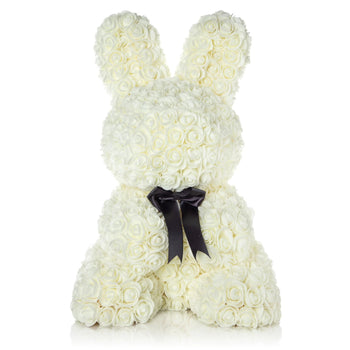 The Forever Handmade White Petal Bunny w/ Ribbon & Gift Box - *Best Holiday Gift*