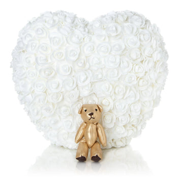 The Forever Handmade White Rose Petal Heart w/ Gift Box - *Best Holiday Gift*