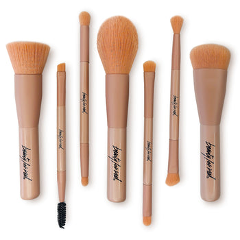 7-Piece Cruelty-Free Makeup Brush Set w/ Travel Bag