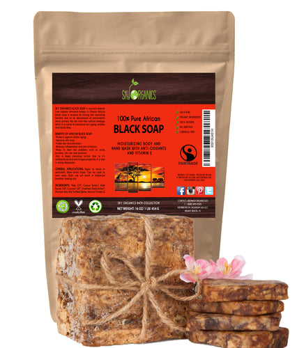 African Black Raw & Unrefined Soap Block for Acne