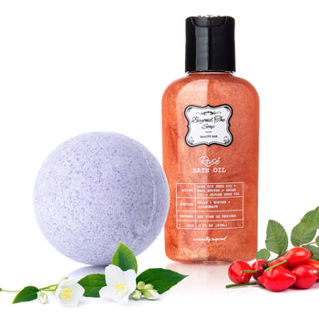 Gift Set - Illuminating and Hydrating Rose & Shea Butter Bath Oil & Jasmine Bath Bomb