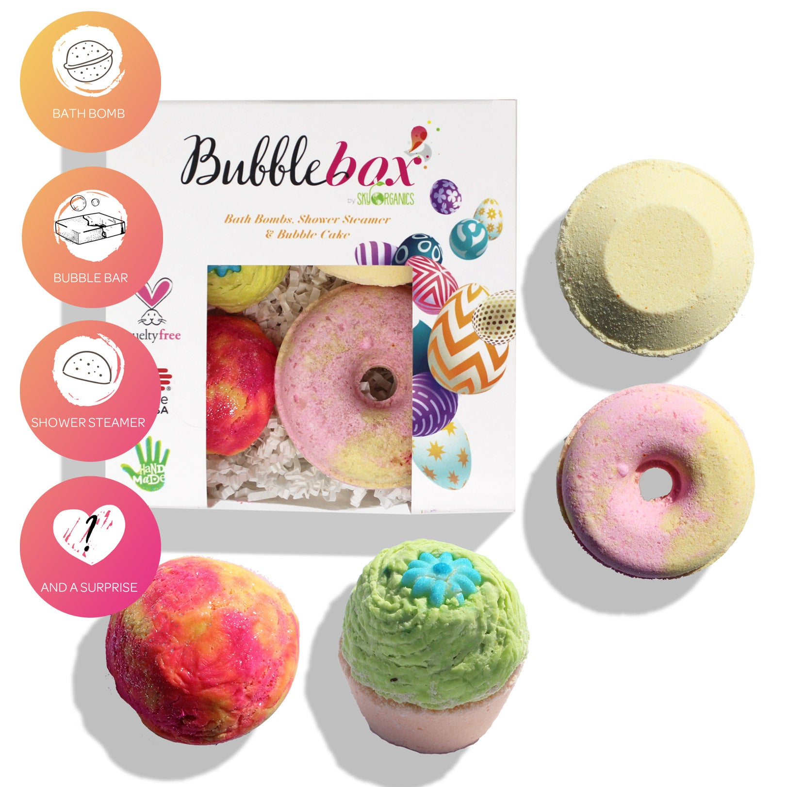 Deluxe Kisses and Wishes BubbleBox - (Bath Bomb, Steamer, Bubble Scoop & Cupcake)