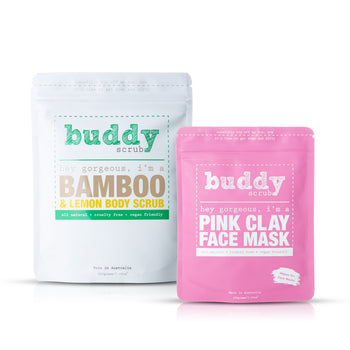 Bamboo & Pink Clay Self-Care Pack - Body Scrub and Face Mask