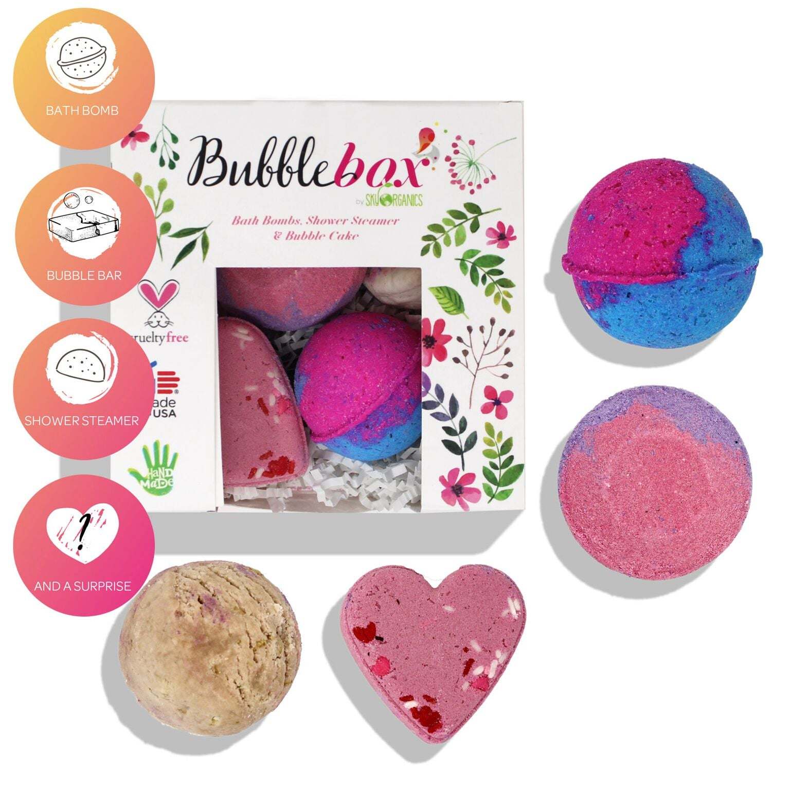 Deluxe Hearts & Roses BubbleBox - (2 Bath Bombs, 1 Steamer & 1 Bubble Scoop)