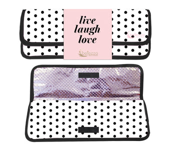 "1.25"" Polka Dot Printed Ceramic Flat Iron & Matching Heat Resistant Pouch"