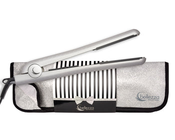 "1.25"" Shimmering Silver Ceramic Flat Iron & Matching Heat Resistant Pouch"