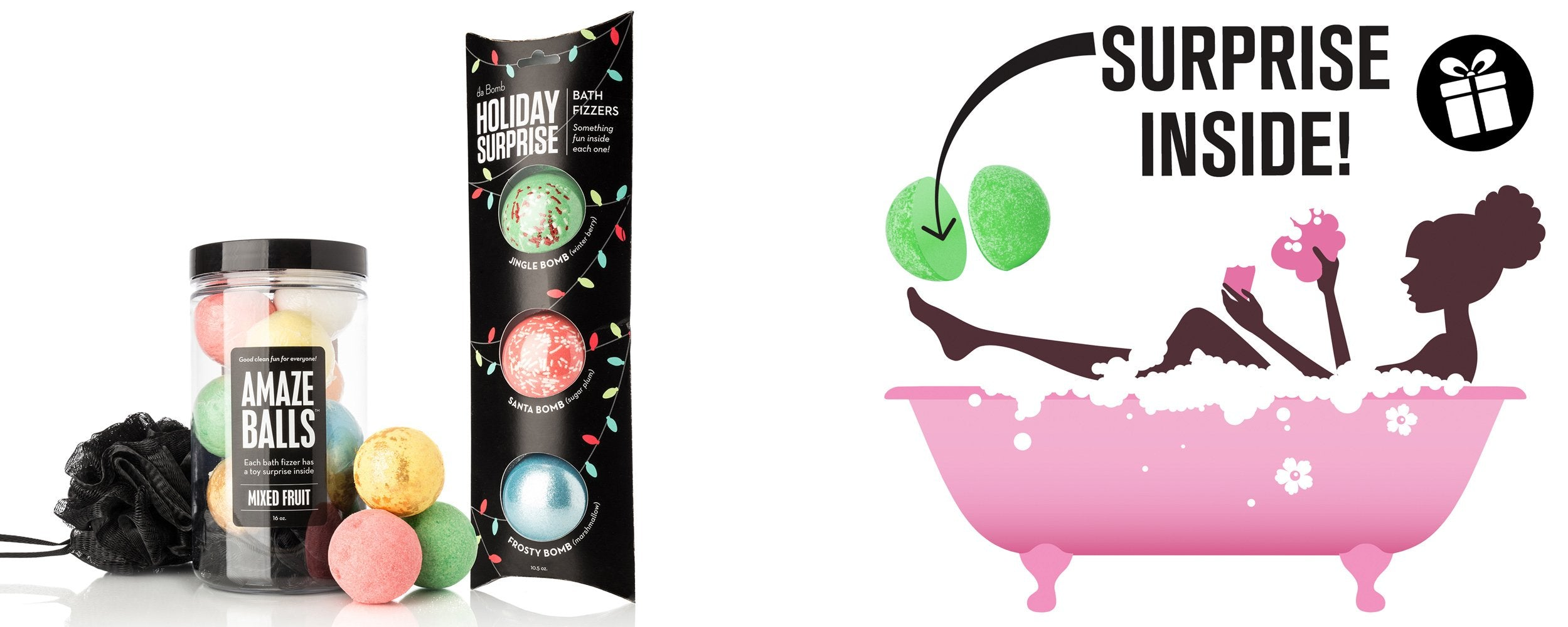 DA BOMB FIZZERS - Relaxing Bath Bombs for Every Mood - Amazeballs Bomb Jar + Holiday Exclusive Pack