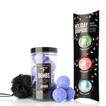 "Relaxing Bath Bombs for Every Mood - ""F"" Bomb Jar + Holiday Exclusive Pack"