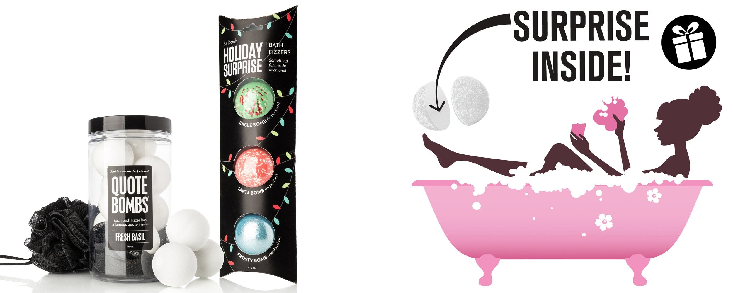 DA BOMB FIZZERS - Relaxing Bath Bombs for Every Mood - Quote Bomb Jar + Holiday Exclusive Pack