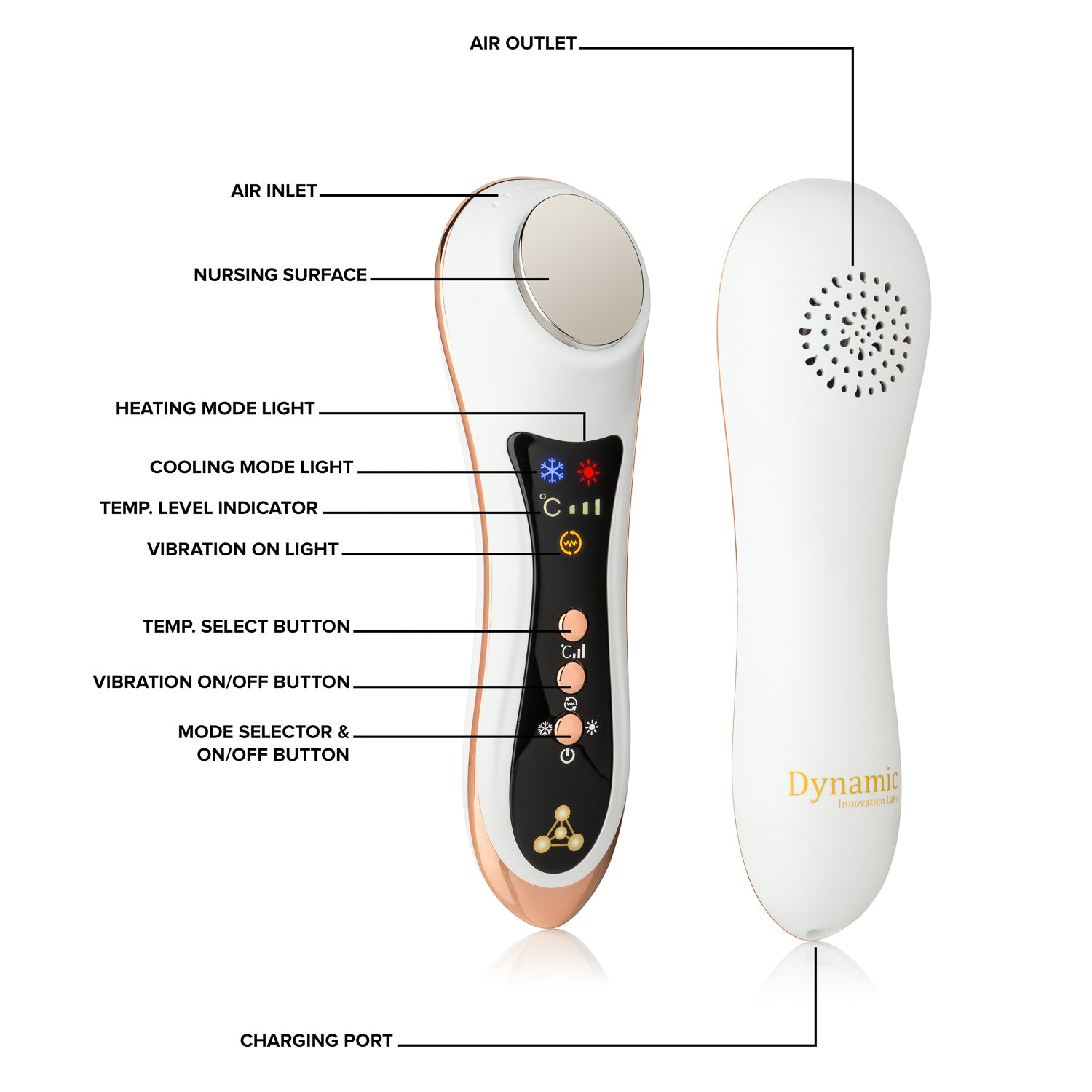 DYNAMIC INNOVATIONS - Next Generation Anti-Aging Lifting Sonic Anion Device - Rose Gold