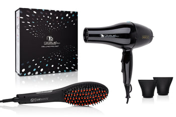 Deluxe Professional Sleek Blowout Set - Turbo Blow Dryer + Soft Touch Straightening Brush