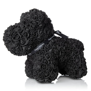 The Forever Handmade Black Rose Petal Puppy w/ Gift Box - *Best Holiday Gift*