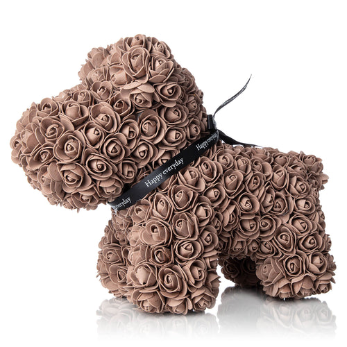The Forever Handmade Brown Rose Petal Puppy w/ Gift Box - *Best Holiday Gift*