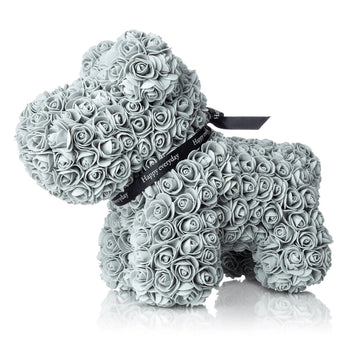 The Forever Handmade Grey Rose Petal Puppy w/ Gift Box - *Best Holiday Gift*
