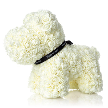 The Forever Handmade Ivory Rose Petal Puppy w/ Gift Box - *Best Holiday Gift*