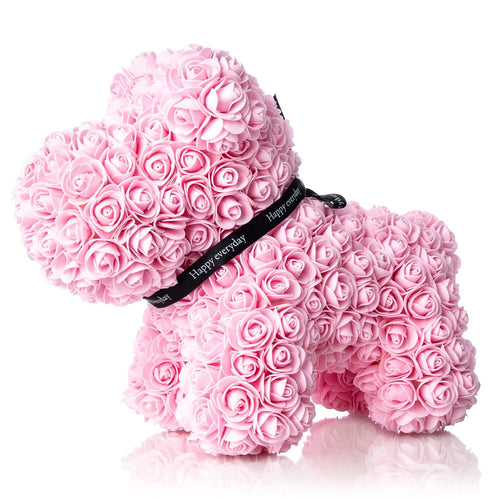 The Forever Handmade Pink Rose Petal Puppy w/ Gift Box - *Best Holiday Gift*