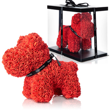 The Forever Handmade Red Rose Petal Puppy w/ Gift Box - *Best Holiday Gift*