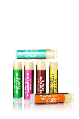 Organic Tropical Flavor Lip Balms 6pk