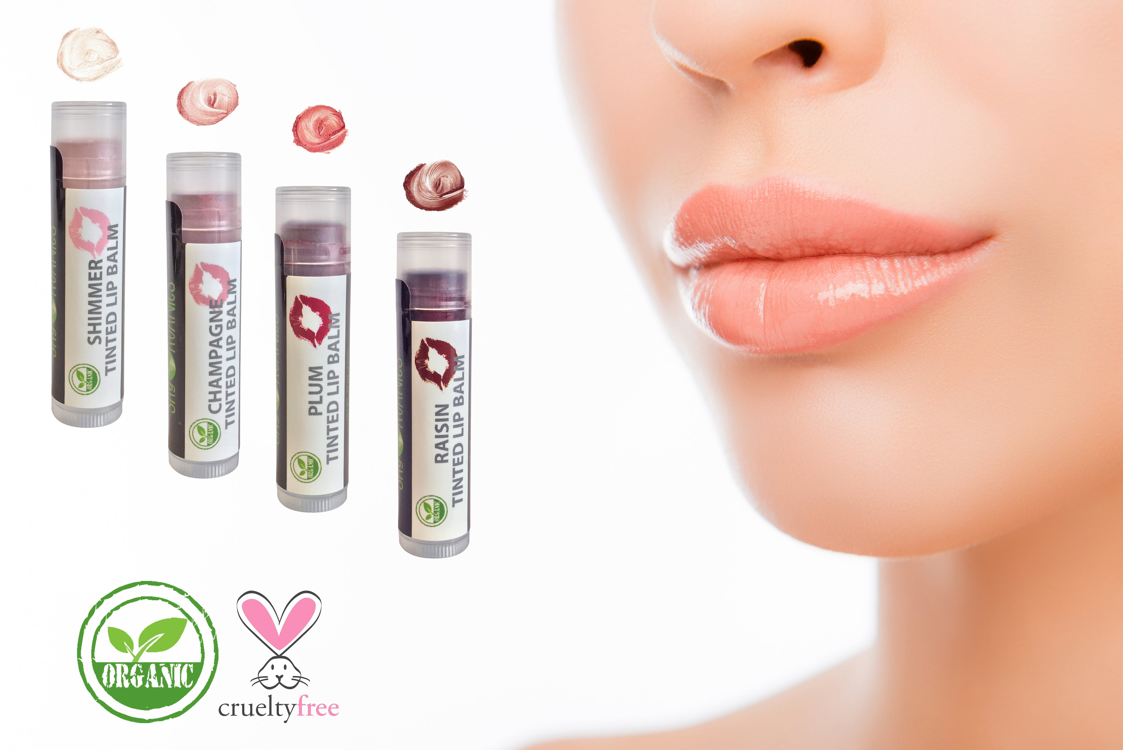 Organic Supple Lips Tinted Lip Balms - 4pk