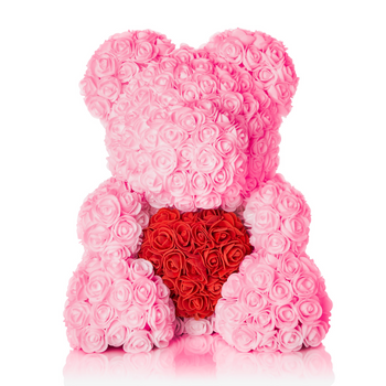 The Forever Handmade Pink Rose Petal Teddy Bear w/ Red Heart & Gift Box - *Best Holiday Gift*