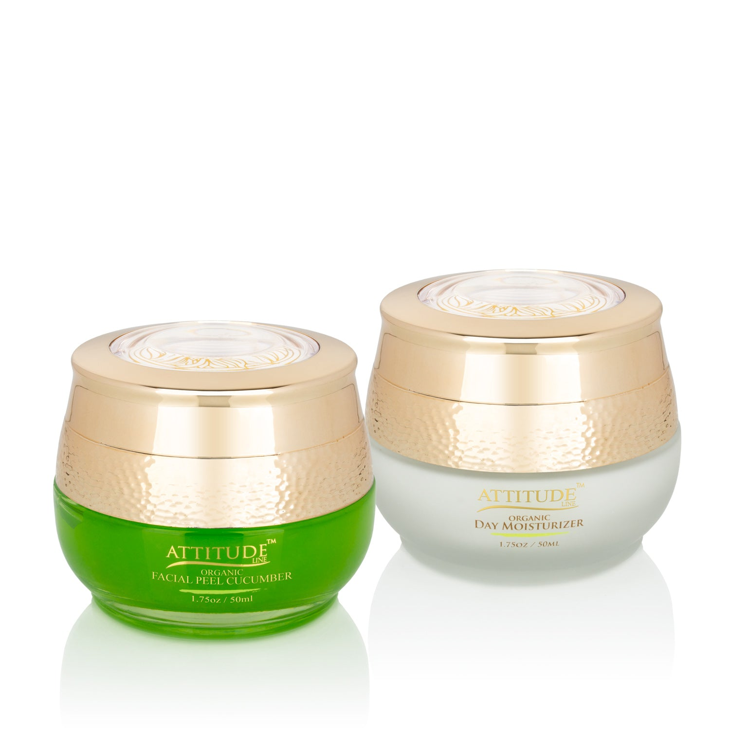 ATTITUDE - Organic Skin REFRESH Set: Organic Cucumber Cooling & Soothing Facial Peel and Organic Supple Skin Day Moisturizer