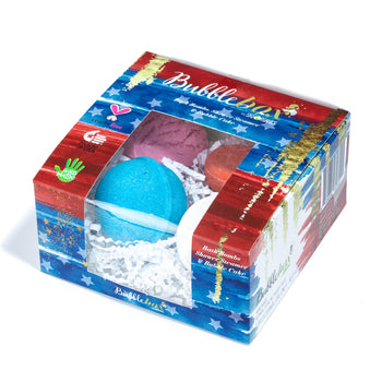 4-Piece Deluxe Stars & Stripes Bath Bombs BubbleBox