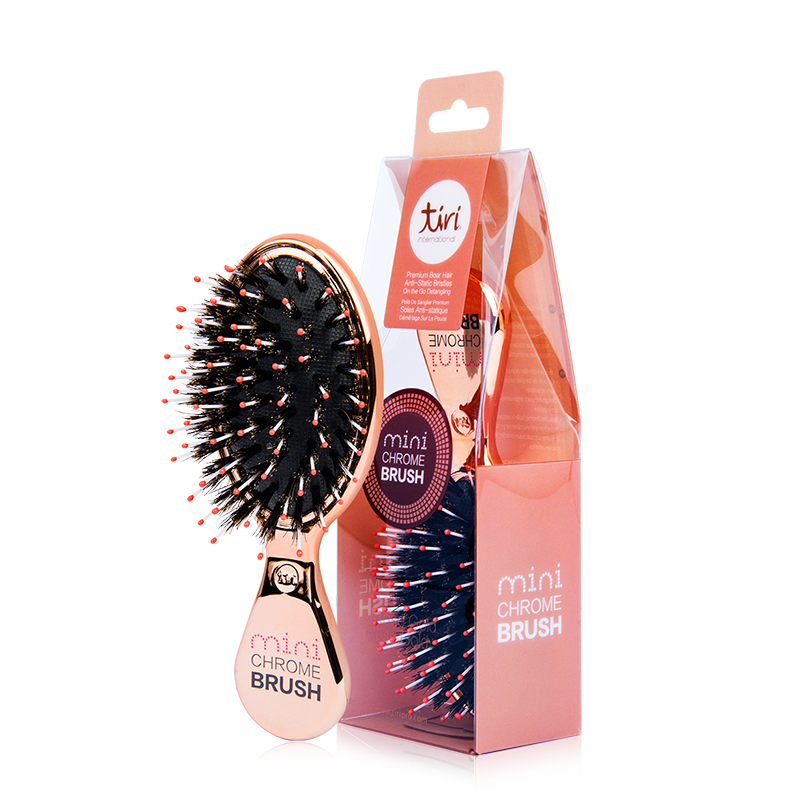 TIRI PRO - Mini Chrome Boar Bristle No-Frizz Rose Gold Paddle Brush