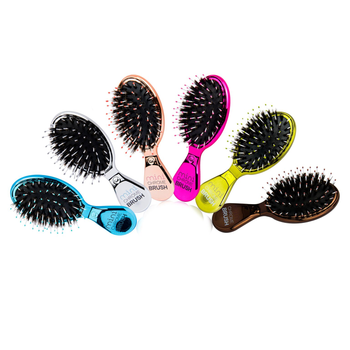Mini Chrome Boar Bristle No-Frizz Paddle Brush