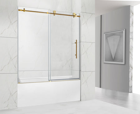 NAPOLI FRAMELESS TUB DOOR BRUSHED GOLD