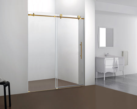NAPOLI FRAMELESS SHOWER DOOR BRUSHED GOLD